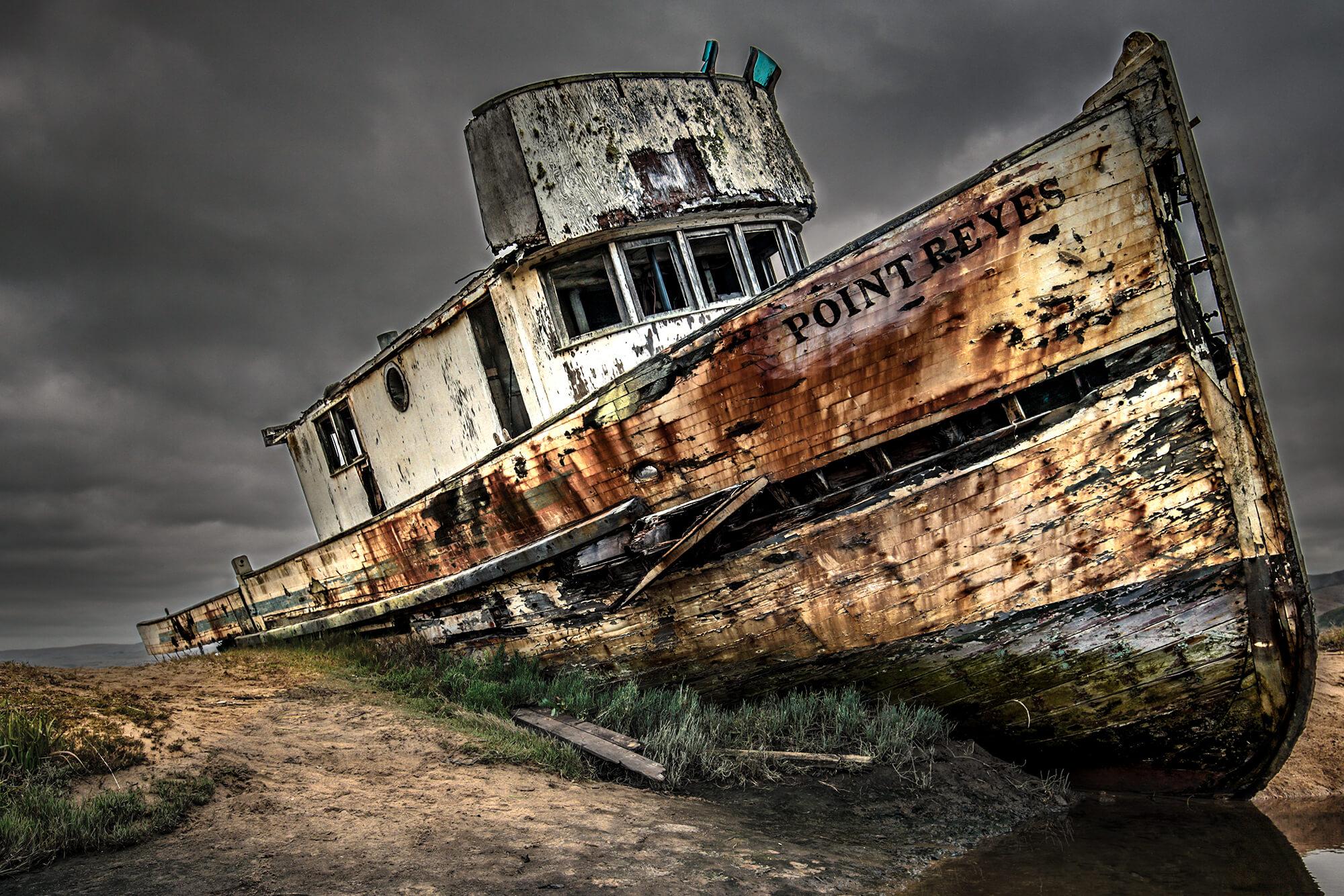 Point Reyes Shipwreck After Fire (Burned) Starboard Side